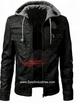 Leather Motorbike Jacket with CE Certified Removable Armors