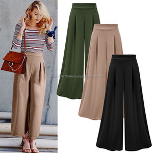 NEW Women Wide Leg High Waist Casual Crop Pants Summer Loose Culottes Trousers