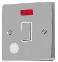Sinoe B324BMF 20A 1 Gang Double Pole Polished Chrome Wall Switch with Neon on/off Indicator & Flex Outlet (12 Year Guarantee)