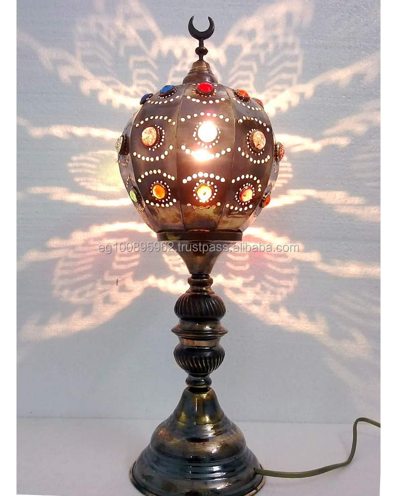 BR305 Unique Moroccan Jeweled Brass Ball Table lamp *Home Decor*