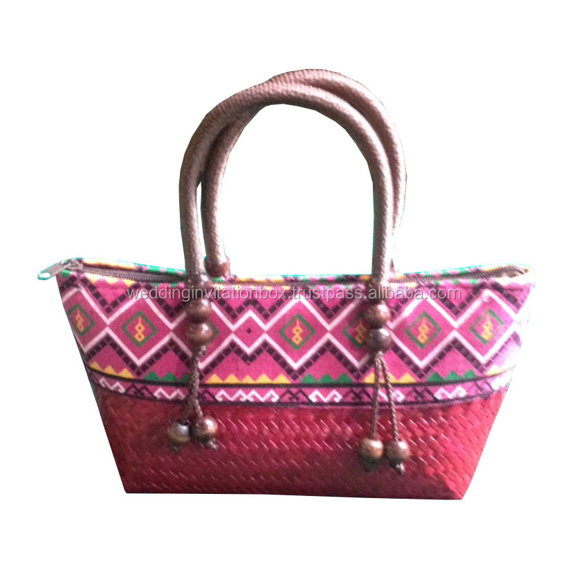 Traditional Northern Thai Style Handmade Bamboo Handbag