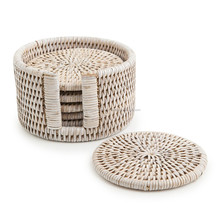 Set of 6 rattan coasters with holder, handwoven in Vietnam