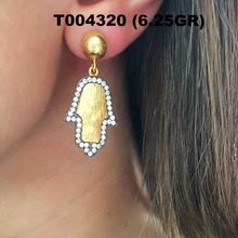 Wholesale authentic gold plated hamsa model 925 sterling silver charm earrings