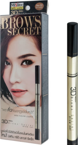 Mistine 3D Eyebrow 3 in 1 Pencil Liner, Brow Shadow, Mascara Makeup Cosmetic