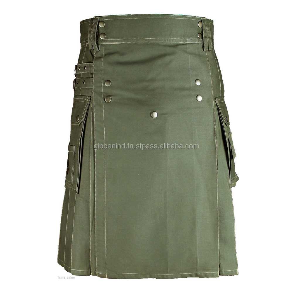 Scottish Men Olive Green Utility Cargo Sports kilt 100% Cotton Custom Hand Made