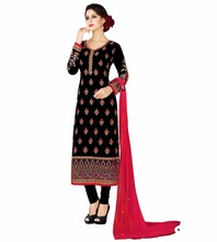 2017 Women Pakistani Semi-Stitched Shalwar kameez / Party Wear Embroidery Straight Cut Salwar Suits Dresses(salwar kameez suits)