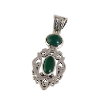 Classic look 925 sterling silver green onyx gemstone pendant jewelry handmade supplier silver pendant