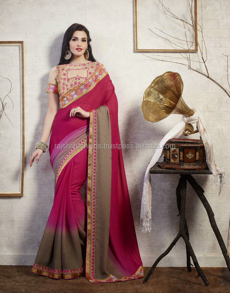 Smashing Marroon & Pink Color Combination With Violet Shaded Season In Style Designer Sarees