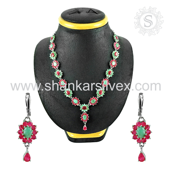 Scrumptious designer jewellery set ruby, emerald gemstone 925 sterling silver jewelry wholesaler india
