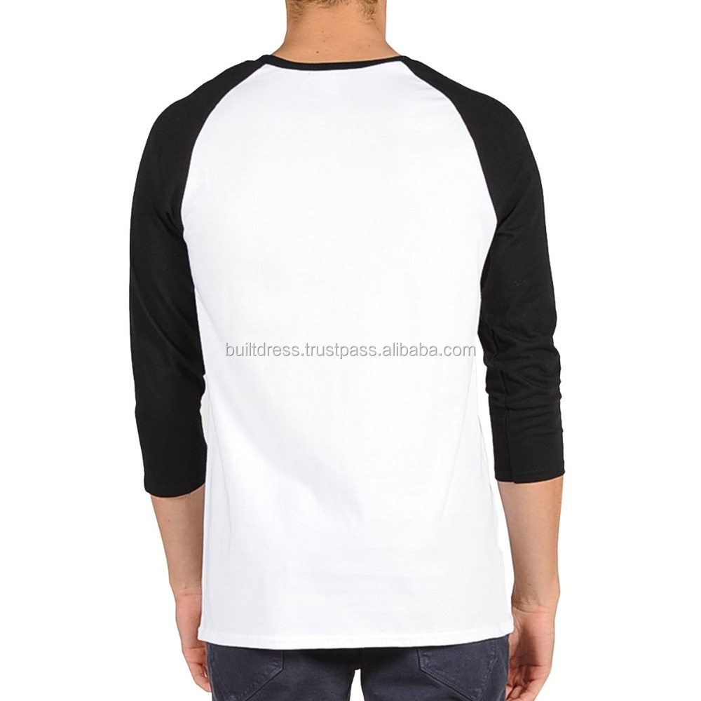 Factory supply custom t shirt men 3/4 sleeve raglan shirt