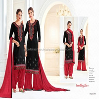Indian Pakistani Panjabi Girls Wear Designer Cotton With Embroidered Work Superb Patiala Suits In Surat