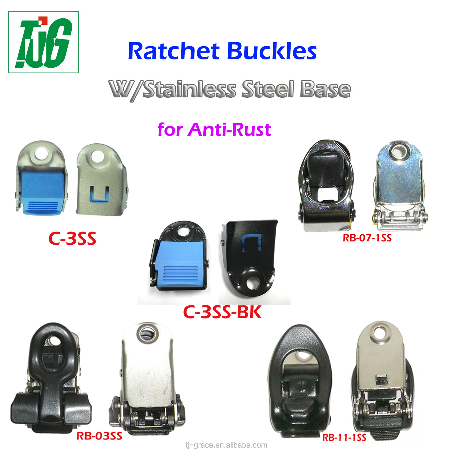 Stainless steel base adjustable Ratchet Buckle