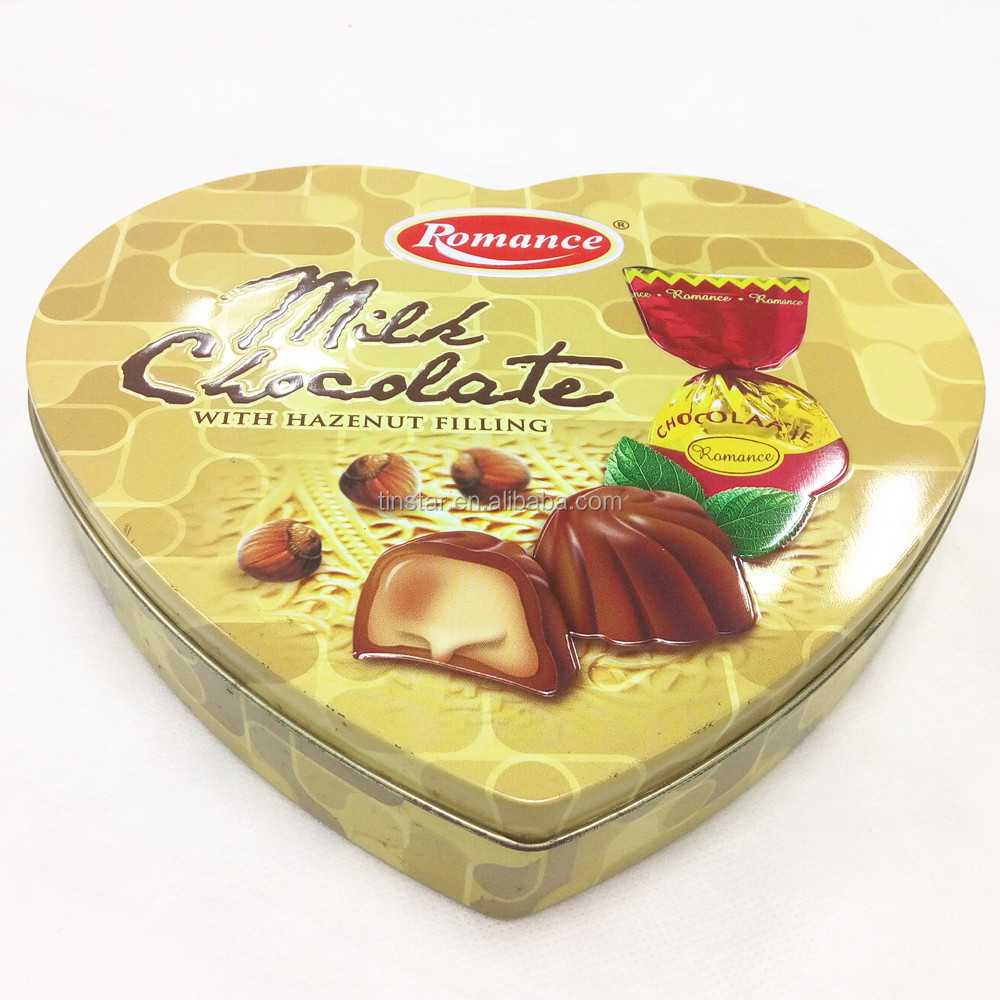 Food grade heart shape metal chocolate tin box