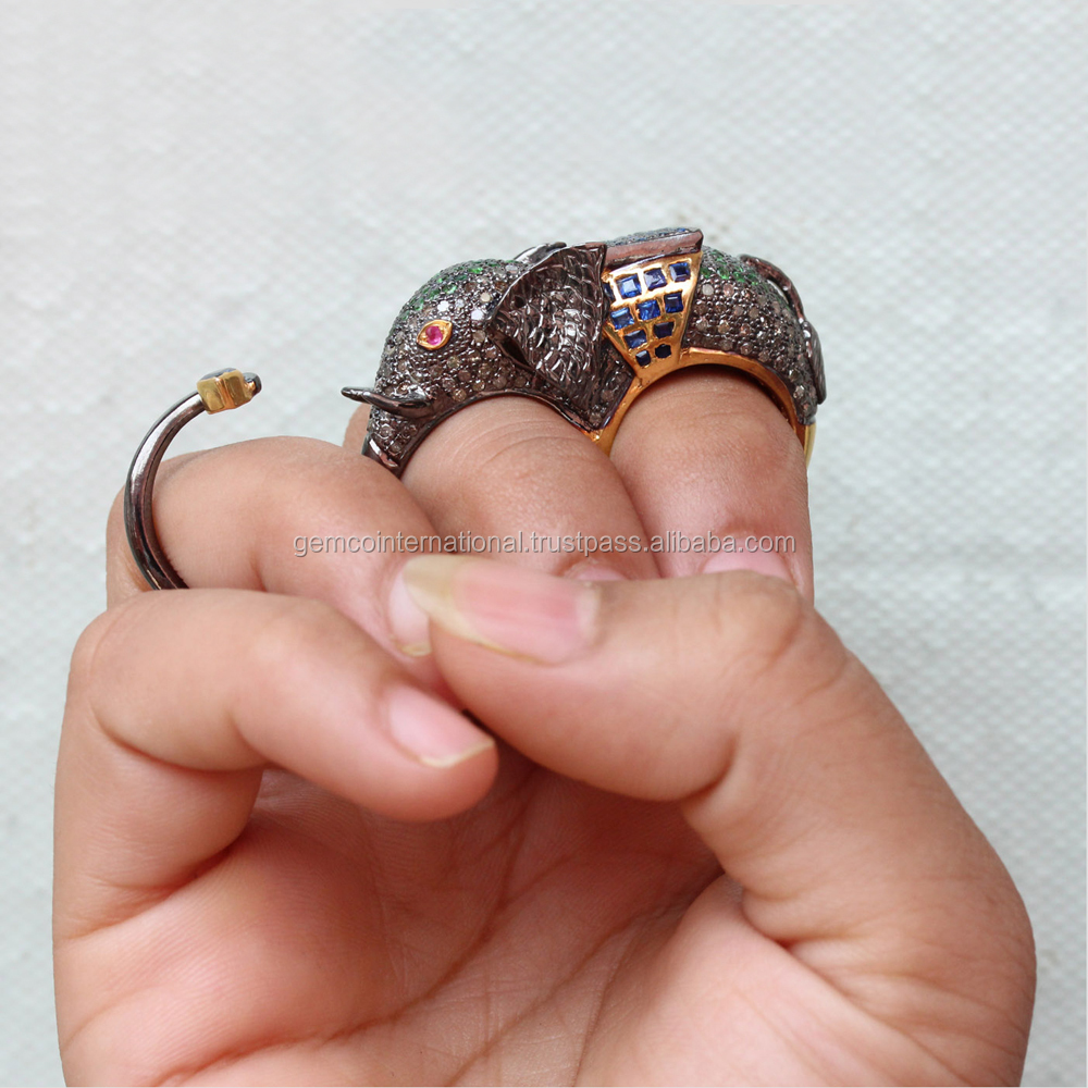 Animal Jewelry Multi Color Gemstone Diamond Two Finger Elephant Ring