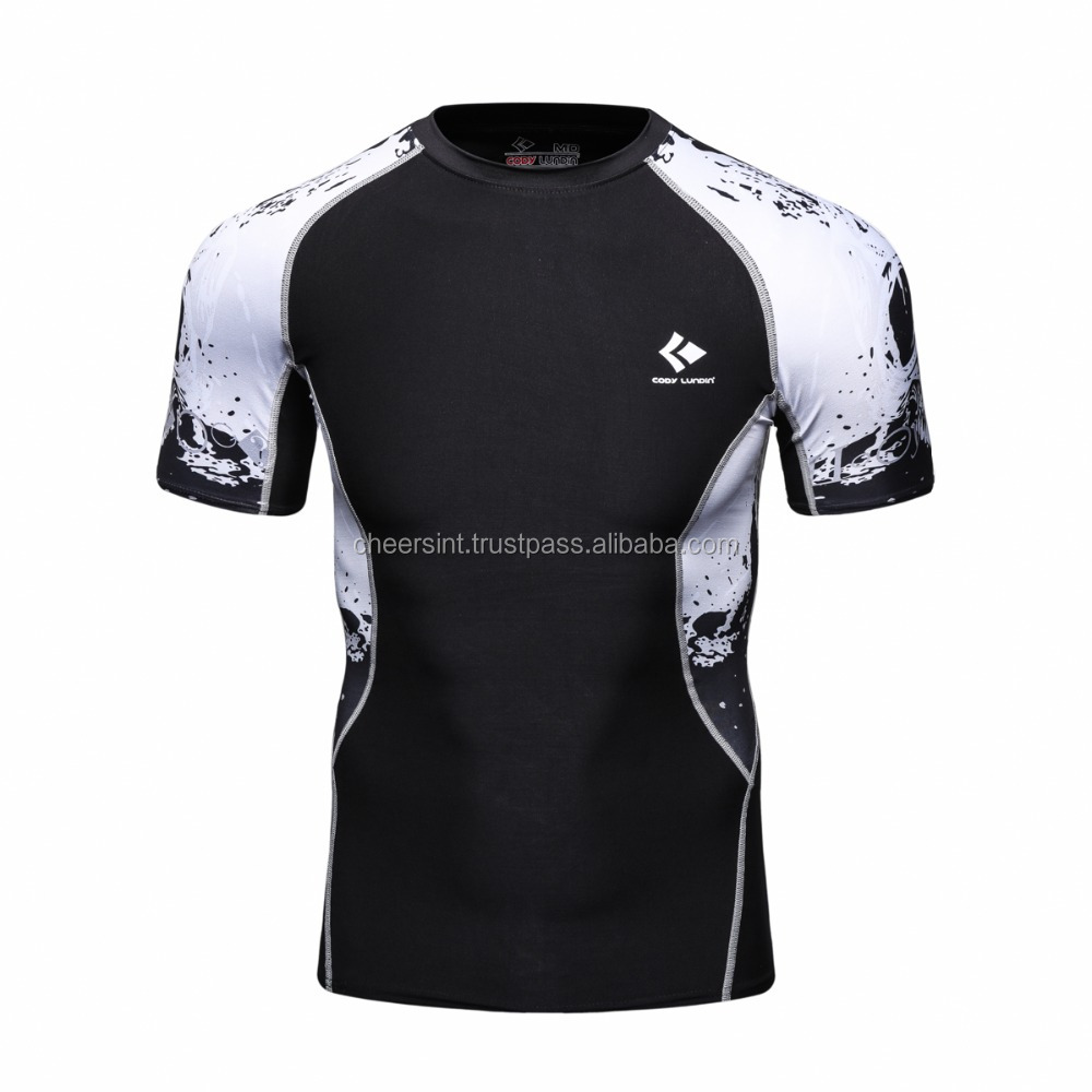 Mens Swim Rash Guard with multy shades short sleeve sublimated