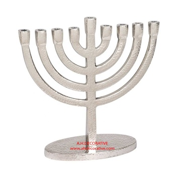 Hammered Aluminum Solid Menorah