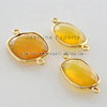 Best Quality Vermeil Yellow Chalcedony Bezel Setting Gemstone Connector Manufacturer