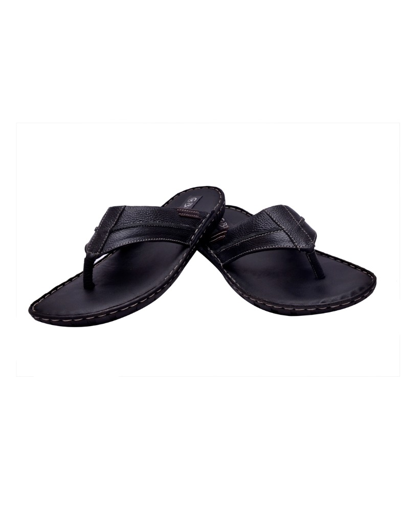 MEN'S BLACK, BROWN LEATHER SLIPPER ON AIRMIX SOLE