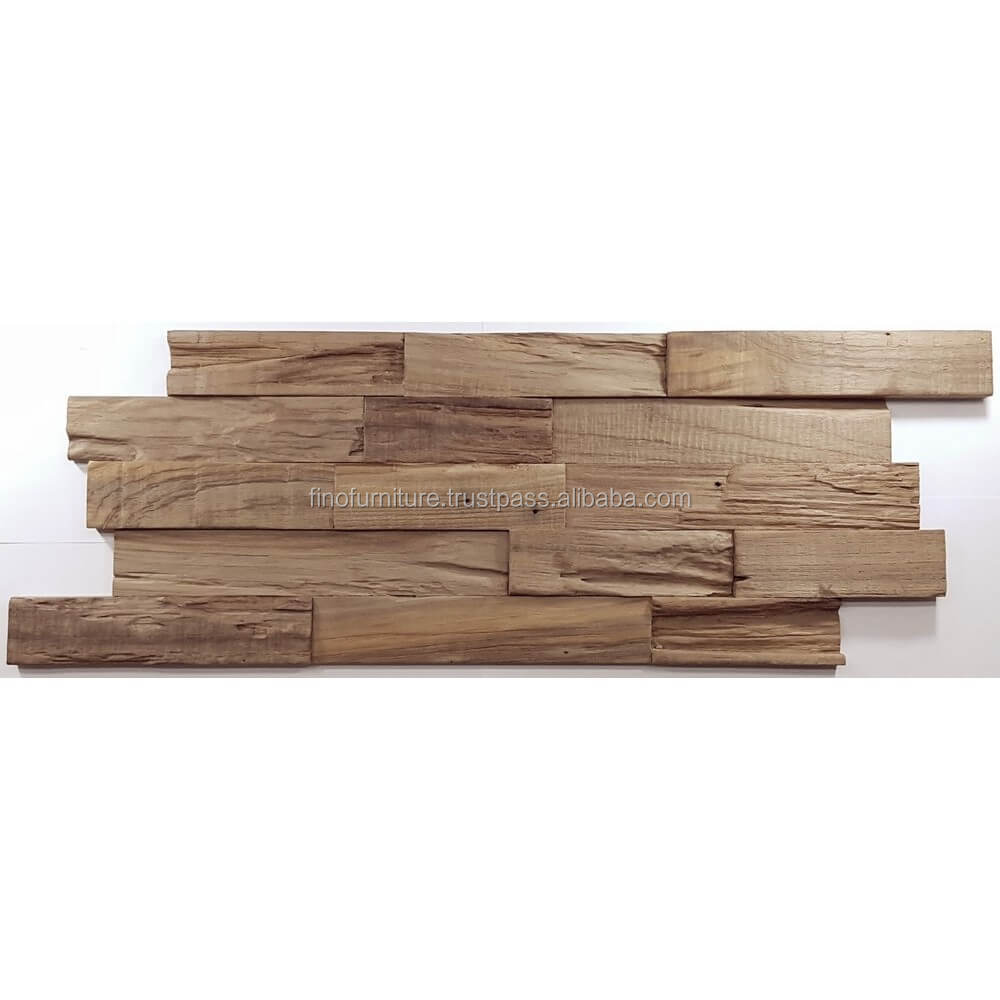 Teak Reclaimed Wood 3D Wood Mosaic Decoration Interior Decorative Wall Panel
