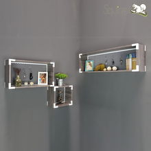 High Quality Decoration Wooden Cube with Metal Net Wall Mount Shelf