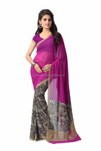 2017 New Design Purple Checks Print Georgette Women Saree