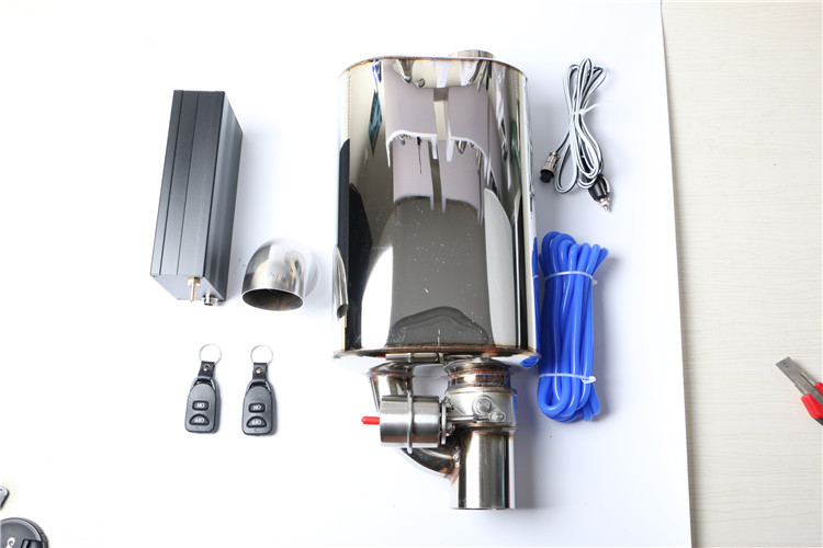 Exhaust mufflers with remote control valve