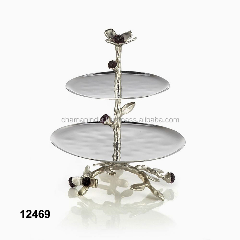 Cast Aluminium Brass Antique 3 Tier  Birth Day Cupcake Stand