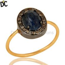 Pave Diamond Blue Sapphire Gemstone Designer Ring 14k Gold Plated 925 Sterling Silver Women's Ring Manufacturer Jewelry