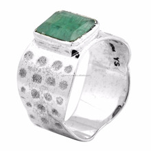 Brazilian Emerald Gemstone Ring Solid 925 Sterling Silver Jewelry IR37750