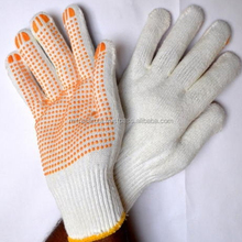 SAFETY 1 AND 2 SIDES PVC DOTS WHITE COTTON KNITTED HAND GLOVES