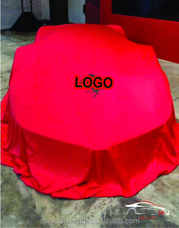 Car Launching Cover Customize Size Red Polyester | Made in Malaysia, Penang Factory