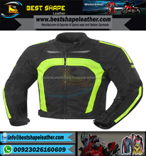Hot Sale Black/parrort colorLeather Racing Motorbike Jacket for Men