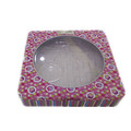 window lid square cosmetic tin box with pvc tray