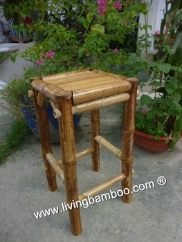 Square Bamboo Stool For Tiki Bar, Resort, Living Room, Home Furniture