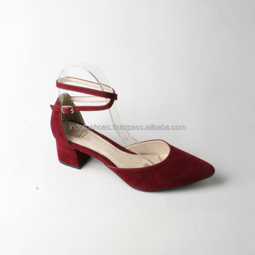 Casual suede pump sling back women shoes pointed toe with block heel