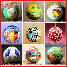 Hand painted paper mache Christmas decorations tree ornament ball bauble bells star