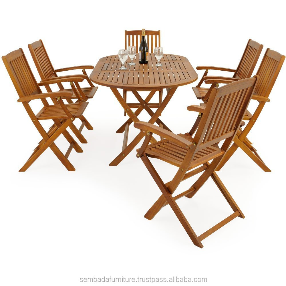 Outdoor Teak Wooden Garden Dining Table and Chairs Furniture Set
