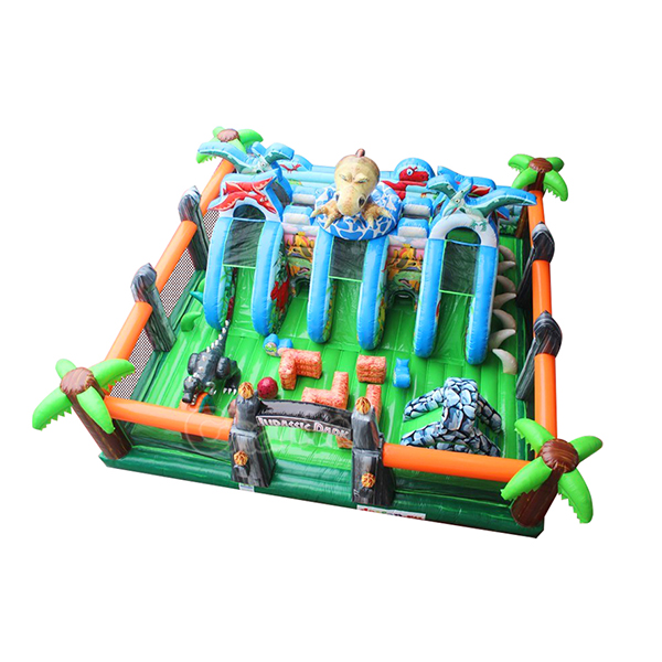 2018 new design Jurrasic park inflatable outdoor playground bouncer slide for sale