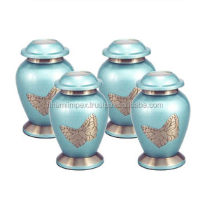 Set of 4 Teal Color Small Mini Keepsake Urns