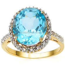 CAPTIVATING 6.5 CARAT TW (23 PCS) BLUE TOPAZ GENUINE DIAMOND 14K SOLID YELLOW GOLD RING