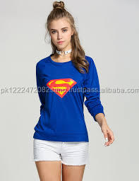 Ladies Super Man Printed Shirt Blue 0-Neck T-Shirt