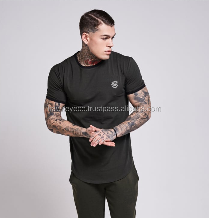 Top selling super quality curved hem long t shirts 2017 manufacture by Hawk Eye Co. (PayPal Verified)
