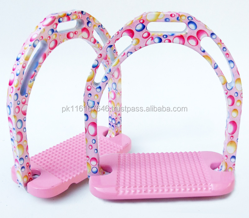 Horse Stirrups-Aluminium Pink Based On Little Bubles Design Light Weight Jinn Stirrups-HE-221 Paper Coated Equestrian