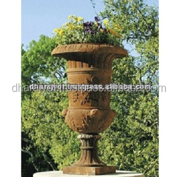Brown Marble Exterior Decorative Tall Designing Carved Vase