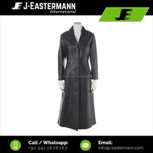 Latest Design Women 5 Button Full Length Leather Long Coat In Genuine Cowhide or Sheep Leather, Ladies Leather Long Trench Coat