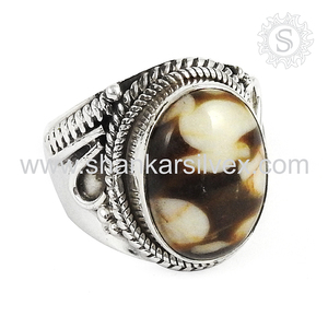 Trendy peanut wood ring 925 sterling gemstone silver ring wholesale jewellery exporter