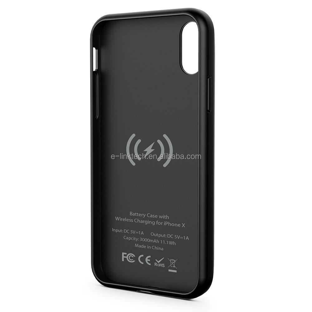 iFANS 3000mAh Wireless Charger Rohs Wireless Battery Case for iPhone X