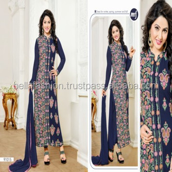 Fashionable Indian and Pakistani Woman Wear Dress Embroidery Designer Straight Suits