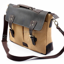 Canvas Leather Messenger Bag Laptop Bag Shoulder Bag