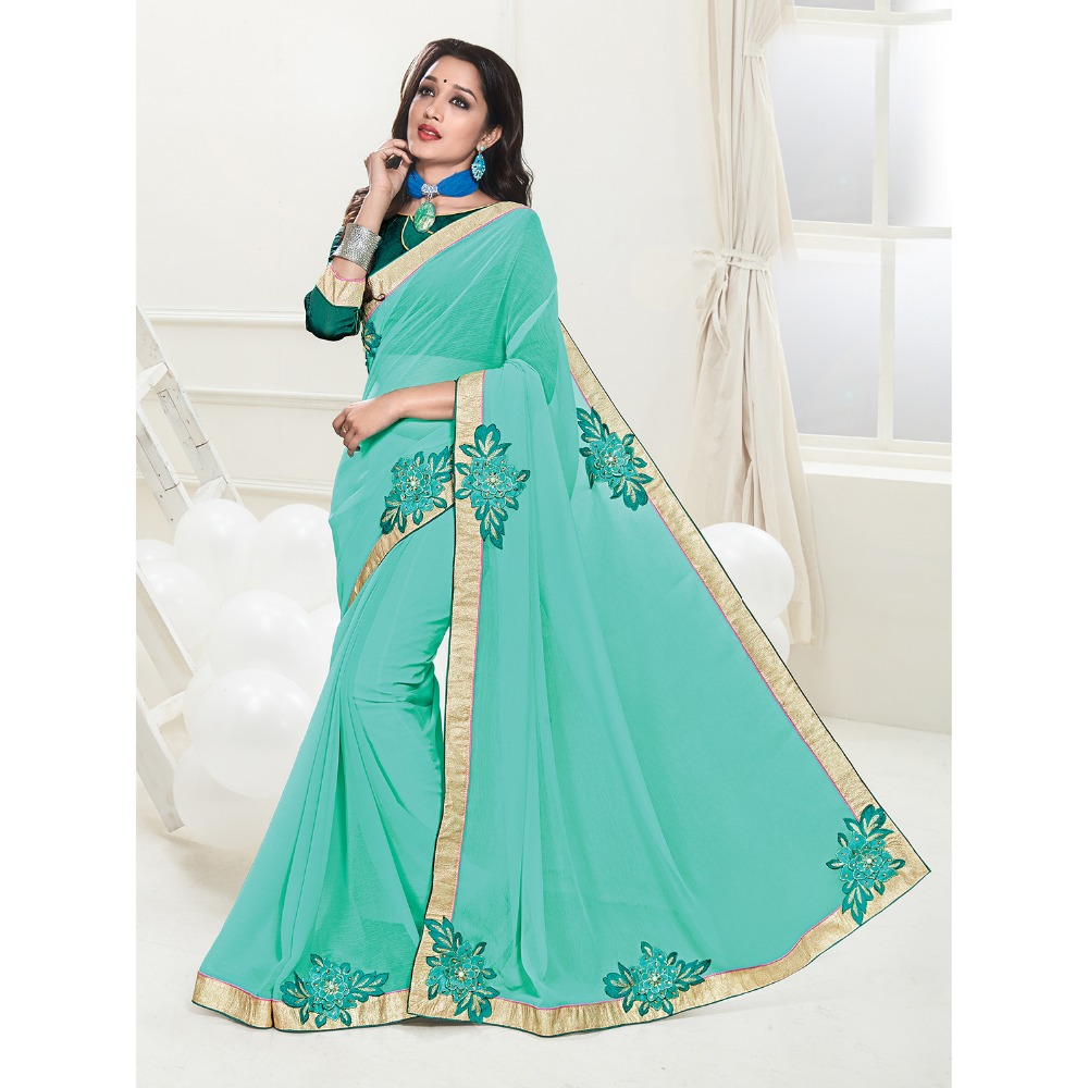 Traditional Sarees from India Tourquise Colour Georgette Embroidered Saree